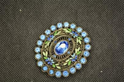 Vintage Blue Faceted Stone & Enamel Brooch