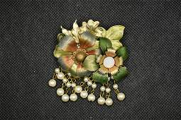 Vintage Double Flower Pin Brooch with Dangling Faux
