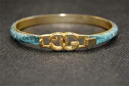 Vintage Gucci Monogram, Blue Snakeskin Bracelet