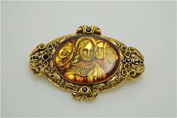 Vintage Religious Brooch, The Vatican Library