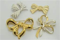 Lot of 4 Vintage Bow Brooches Trifari  Givenchy
