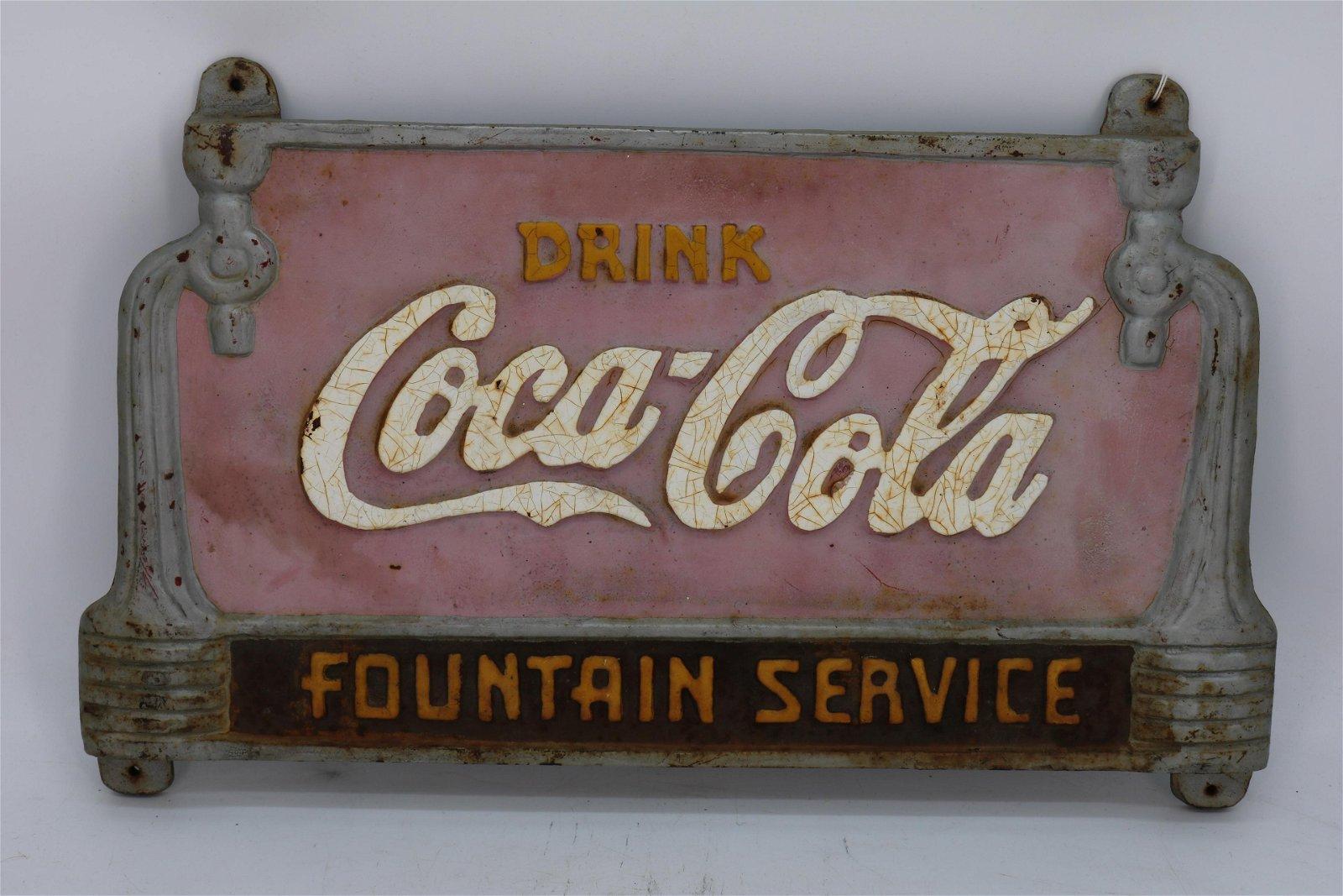 Vintage Coca-Cola Park Bench Cast Iron Plaque