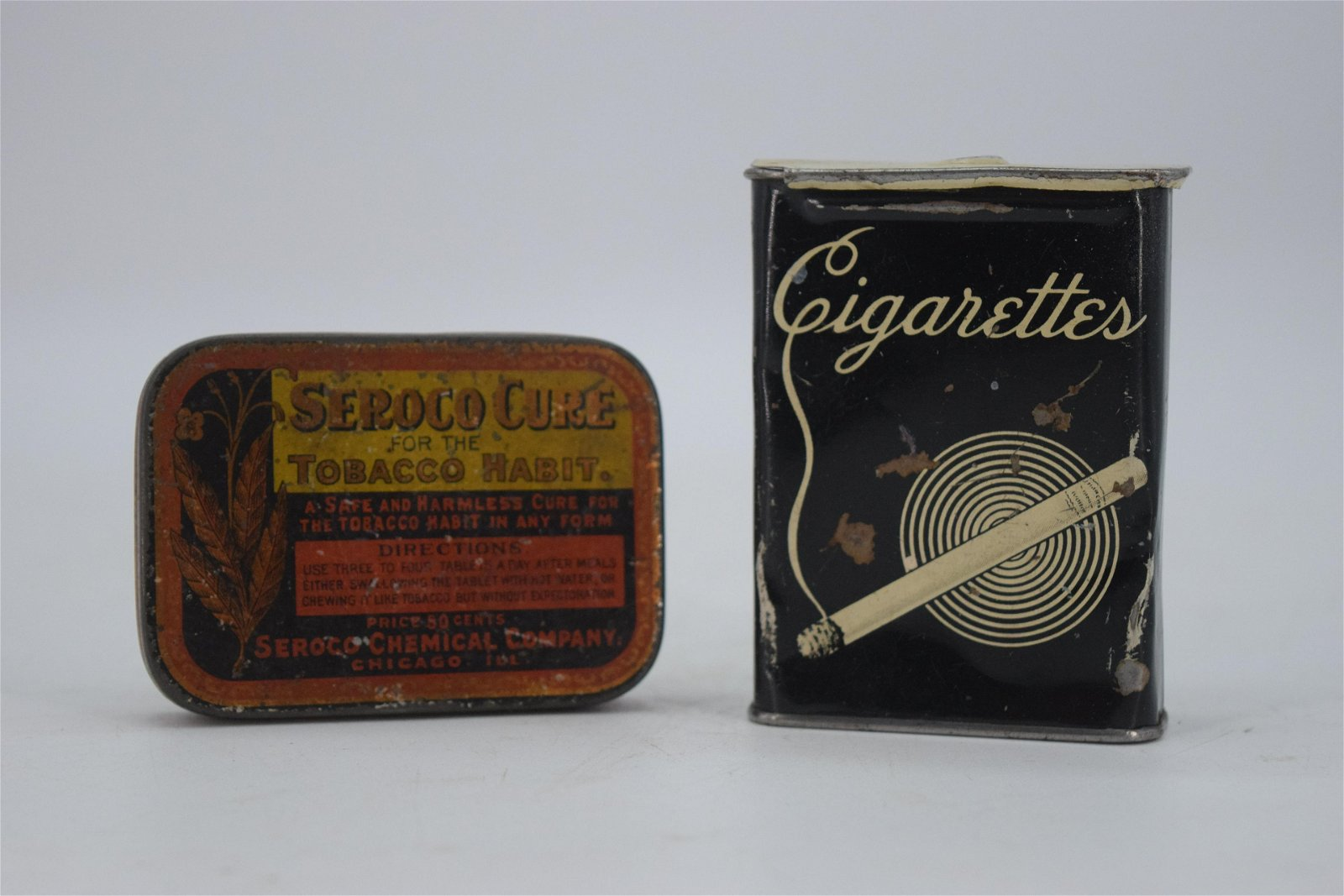 Lot of 2 Cigarette  & Tobacco Advertising Tins