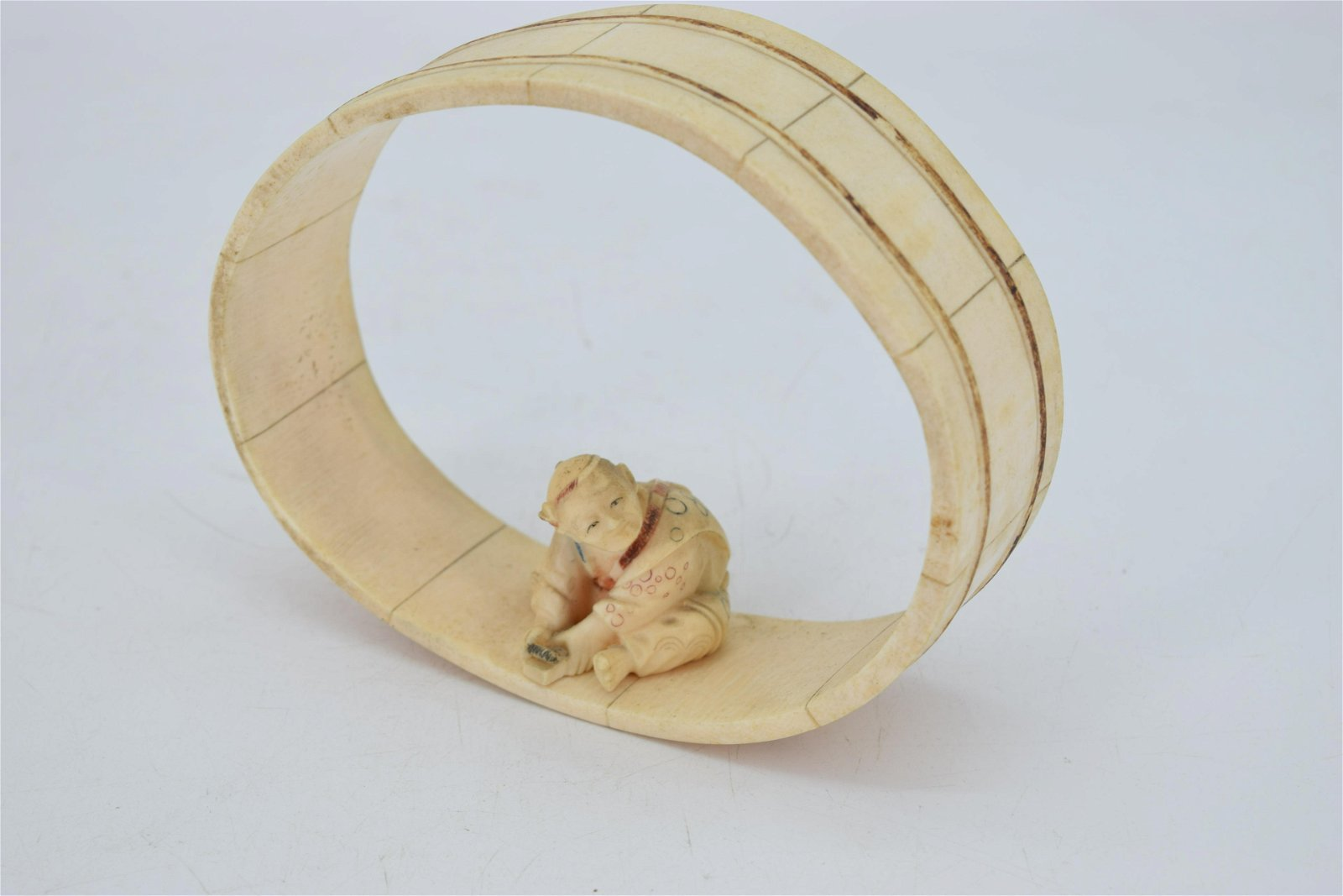 19th C. Signed Hand Carved Bone Chinese Figure Sitting
