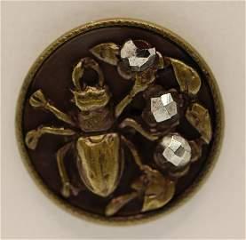 Victorian Steel Cut Beetle Button, 1880
