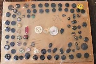Lot of 80 plus, Antique Buttons, Black Jet Glass,