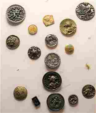 Lot of 16 Antique Buttons 1800-1900's French, &