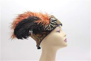 Stunning Vintage 1920's Feather Flapper Hat