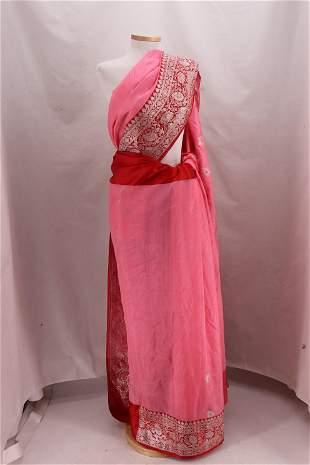 Vintage Pink & Red Silk & Embroidered Gold Metallic