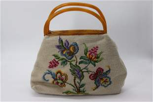 Vintage Hand Embroidered Purse with Lucite