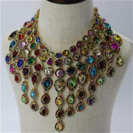 Stunning Colorful Statement Bib Necklace by Natasha