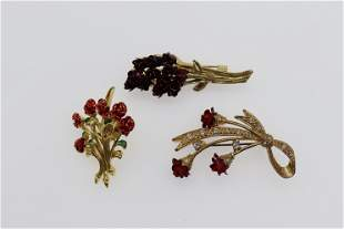 Lot of 3 Vintage Rose Bouquet Brooches