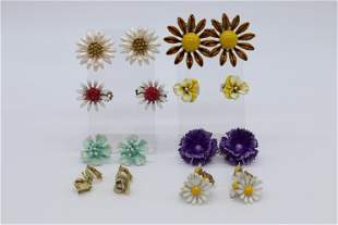 Lot of 8 Pair Vintage Enamel Flower Earrings