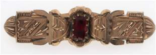 Victorian Rolled Gold Brooch with Red Stone