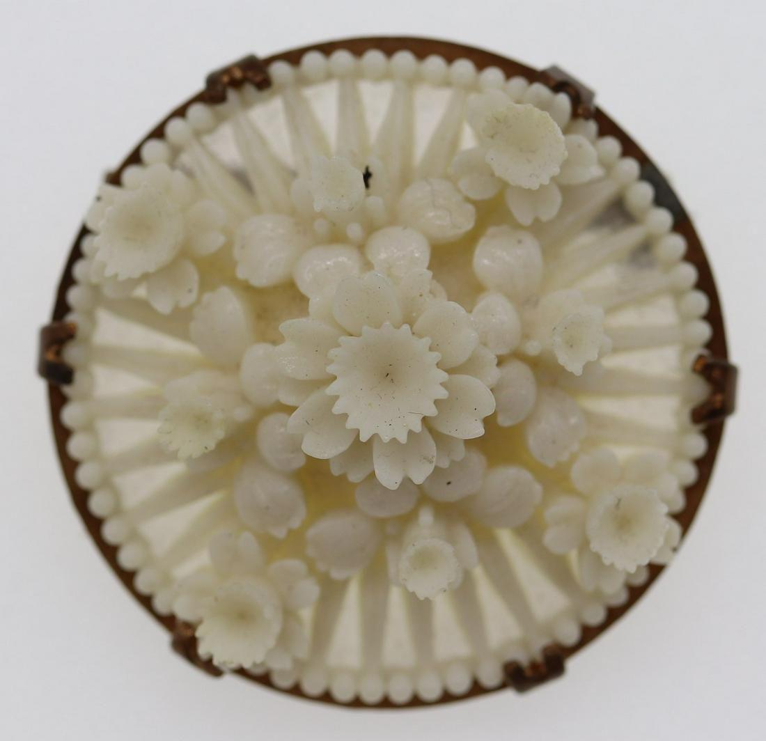 Vintage Carved Raised Floral Brooch
