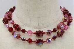 Vintage 1950's Vendome Red & Pink Crystal Necklace Set