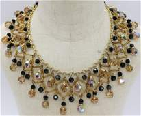 Vintage Vendome Crystal Teardrop Bib Necklace