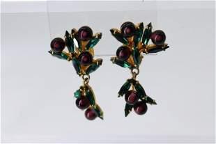 Vintage German Clip on Earrings, Emerald & Amethyst