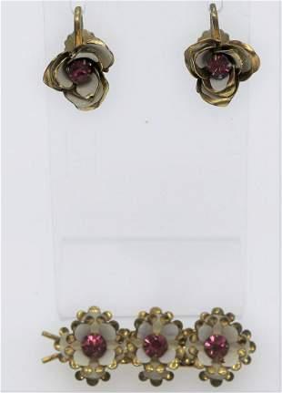 Vintage Pink Stone & Enamel Flower Hair Clip & Earring