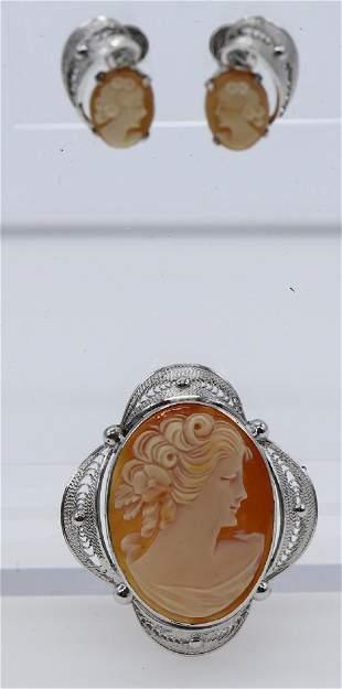 Vintage Sterling Carved Cameo Brooch & Earing Set