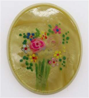 Antique 1910's Hand Painted Celluloid Brooch