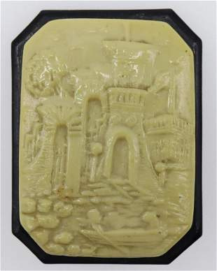 Vintage Celluloid Scenic Brooch