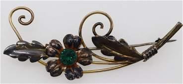 Vintage Sterling & Gold Filled Flower Brooch, Van Dell