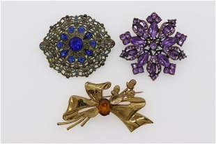 Lot of 3 Vintage Brooches with Large Stones