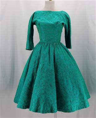 Vintage 1950's Green Taffata Party Dress