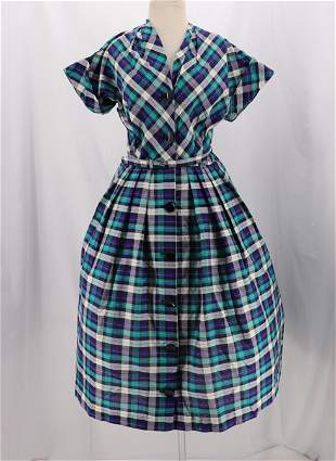 Vintage 1950's Plaid Shirt Waist Dress