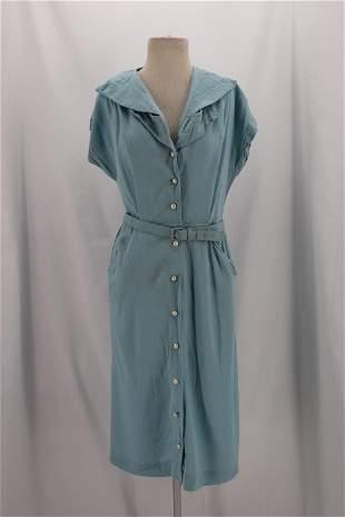 Vintage 1940's Light Blue Cotto Dress