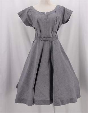 Vintage 1950's Grey Cotton Day Dress
