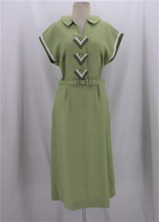 Vintage 1950's Green Linen Dress With Matching Belt