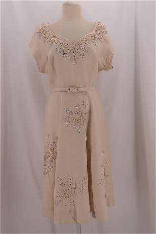 Vintage 1950's Linen WILLSON CHASE Beaded Floral