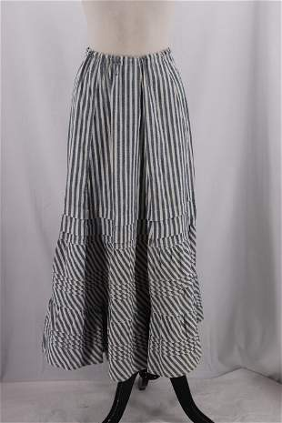 Vintage 1900's Early Denim Stipped Skirt