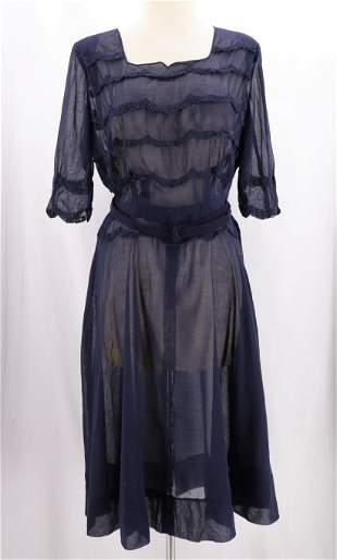 Vintage 1940's Sheer Navy Blue & Lace Dress