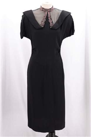 Vintage 1940's Black Rayon Classic Evening Dress with