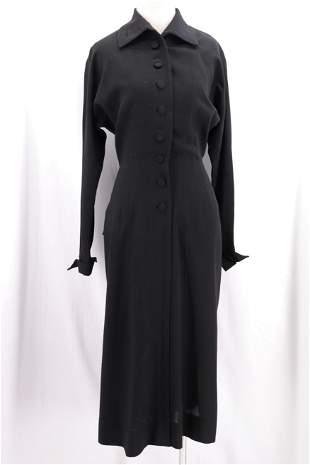 Vintage 1940's Black Wool Dress with Layered Peplum