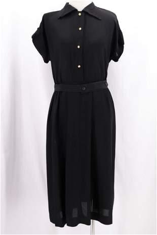 Vintage 1940's Black Rayon Day Dress