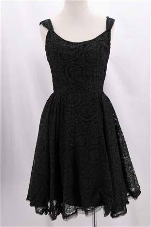 Vintage 1950's Black Lace Party Dress