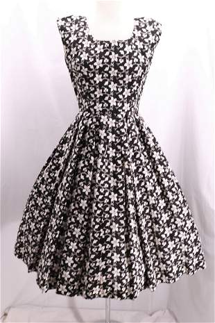 Vintage 1950's Embroidered Rhinestone Party Dress