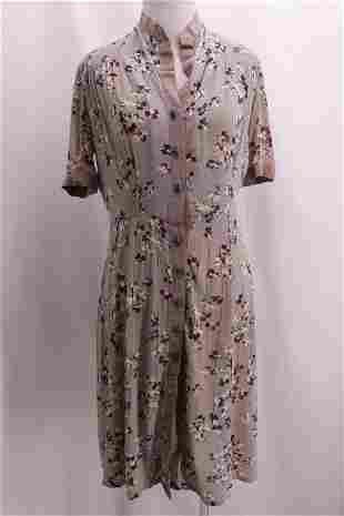 Vintage 1940's Sheer Rayon Floral Day Dress