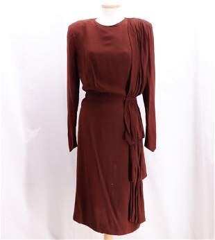 Vintage 1940's Classic Brown Rayon Dress