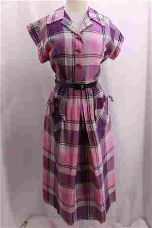 Vintage 1950's Plaid Cotton Day Dress