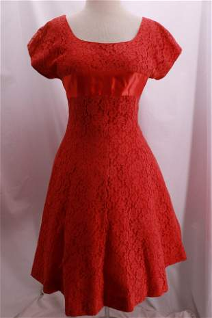 Vintage 1950's Red Lace Party Dress