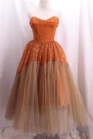 Vintage 1950's Lace & Tulle Princess Dress by COTILLION