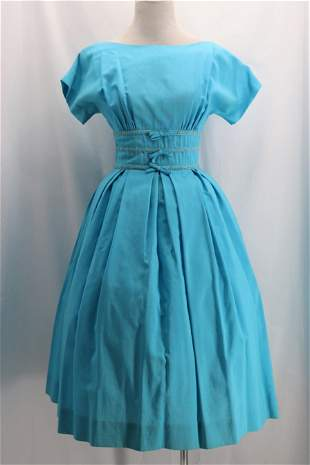 Vintage 1950's Blue Linen Cocktail Dress