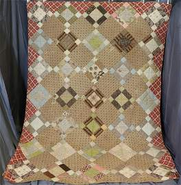 Vintage 9 Patch Variation Hand Stitched Quilt, 1860-80