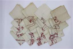 Lot of 14 Novelty Red Work Embroidered Quilt Square