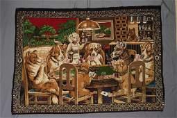 Vintage Dog's Playing Poker Felt Wall Hanging